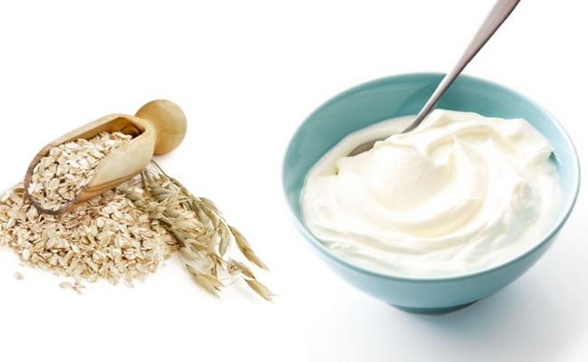 bột yến mạch và sữa chua