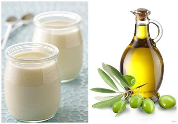 dầu oliu và sữa chua