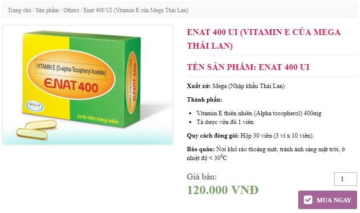 Viên nang Vitamin E Enat 400 giá bao nhiêu tiền 1 hộp natural vitamin e enat 400 gia bao nhieu