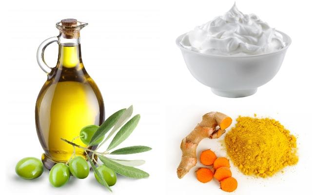 dầu oliu, sữa chua và bột nghệ
